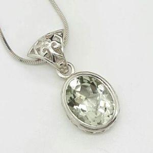 Jewelry - Oval Cut Green Amethyst Pendant
